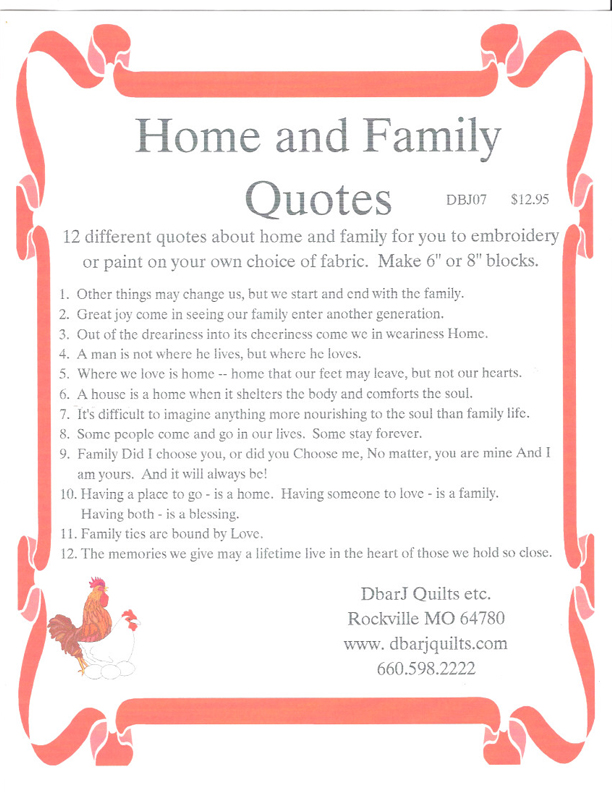 Home And Family Quotes Dbarj Quilts Etc